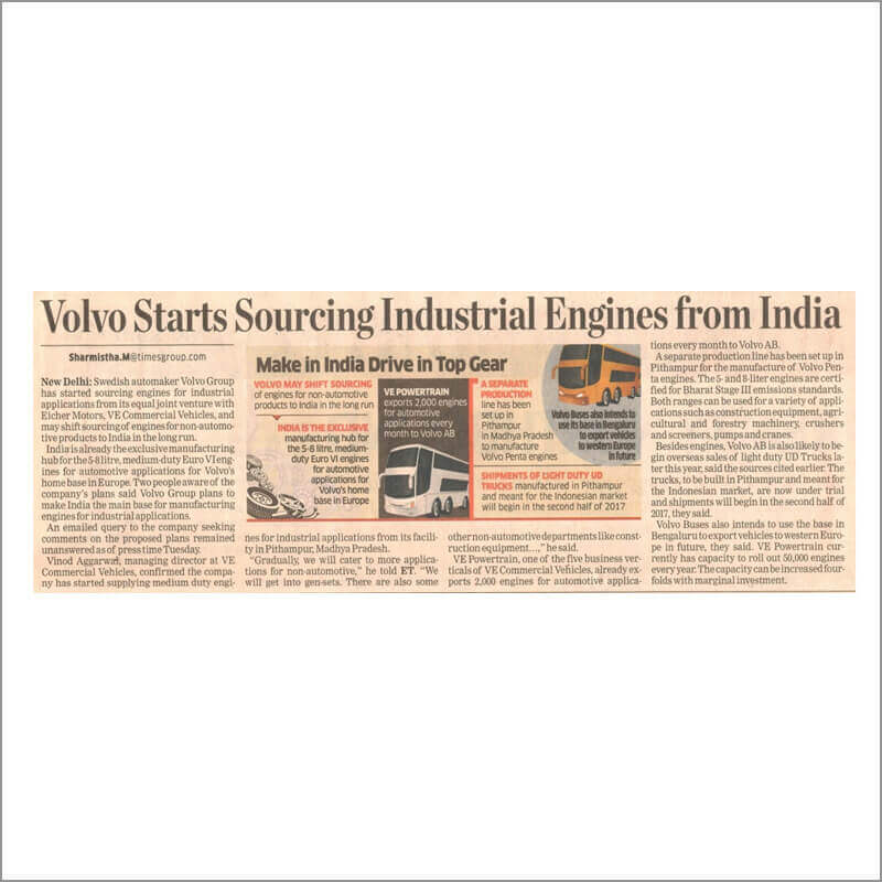 Volvo Starts Sourcing industrial Engines from india