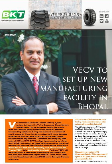 VECV TO SET UP NEW MANUFACTURING FACILITY IN BHOPAL