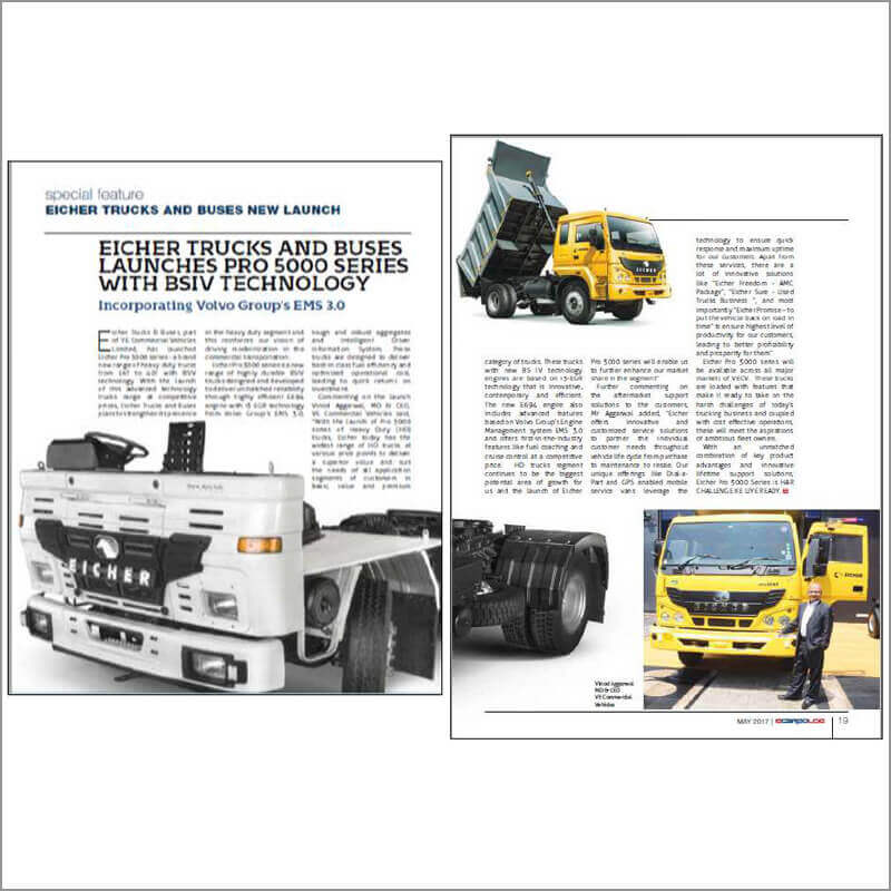 EICHER TRUCKS AND BUSES LAUNCHES PRO 5000 SERIES WITH BSIV TECHNOLOGY