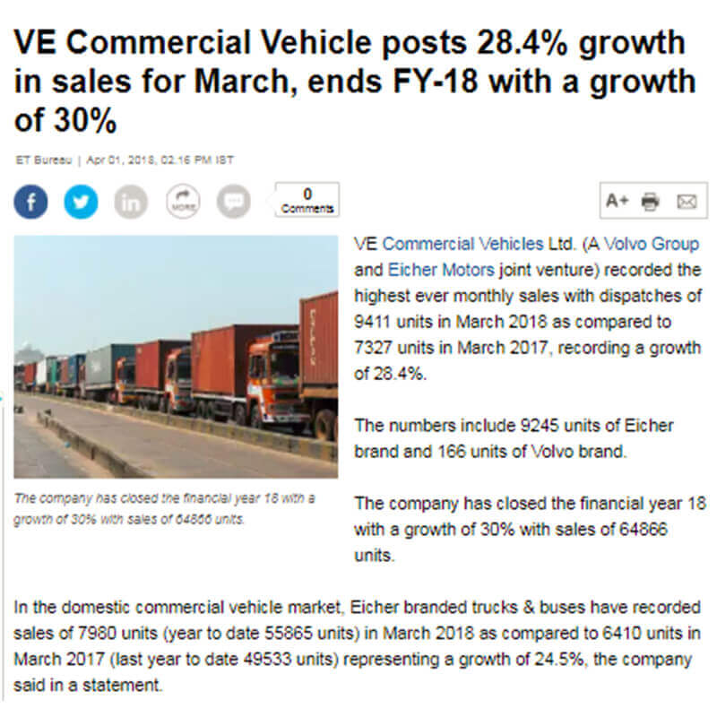 VE COMMERCIAL VEHICLE POSTS 28.4% GROWTH IN SALES FOR MARCH, ENDS FY-18 WITH A GROWTH OF 30%