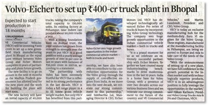 VOLVO EICHER TO SET UP INR 400 CRORE TRUCK PLANT IN BHOPAL