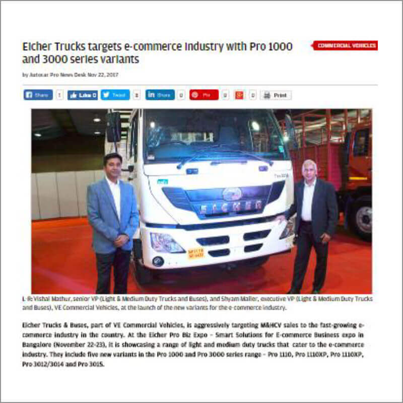 Eicher Trucks targets e-commerce industry with Pro 1000 and 3000 series variants