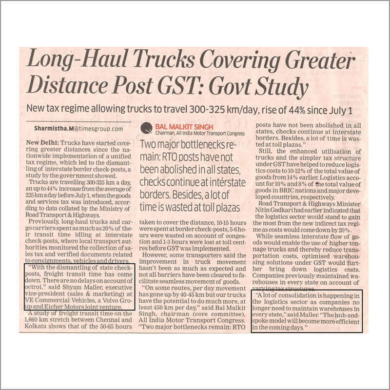 Long Haul Trucks Covering Greater Distance Post GST: Govt Study