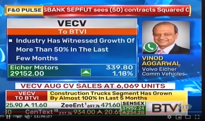 Vinod Aggarwal, MD & CEO, VECV speaks to BTVI about the sales growth in the month of August