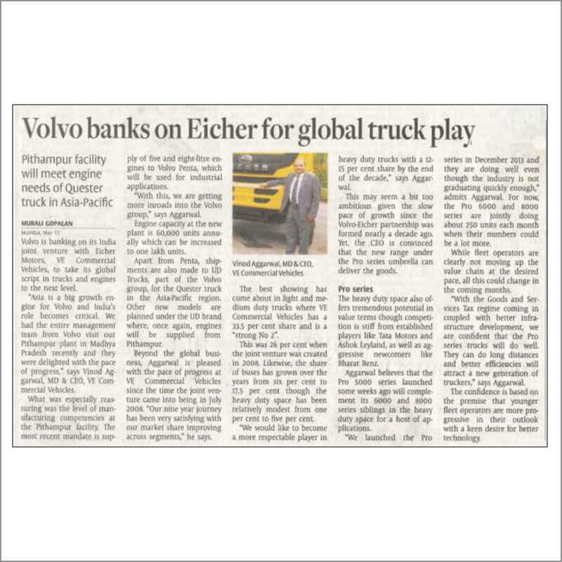 Volvo banks on Eicher for global truck play