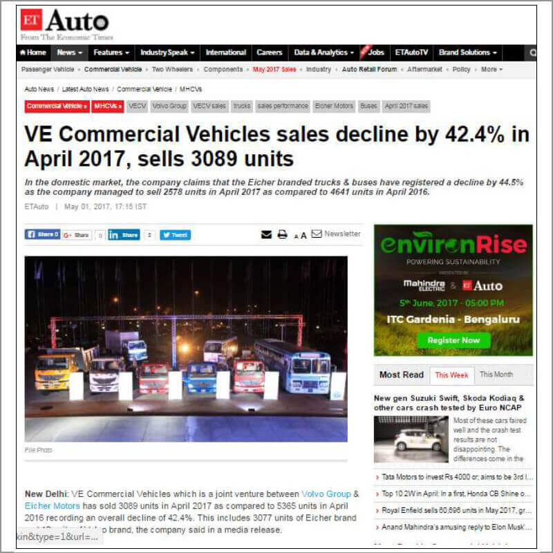 VE Comercial Vehicles sales declin by 42,4% in April 2017, sells 3089 units