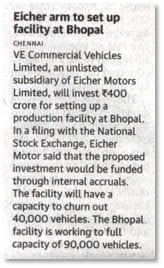 EICHER ARM TO SET UP FACILITY AT BHOPAL