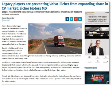 Legacy players are preventing Volvo-Eicher from expanding share in CV market: Eicher Motors MD