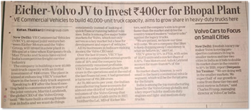 VOLVO EICHER JV TO INVEST INR 400 CR FOR BHOPAL PLANT